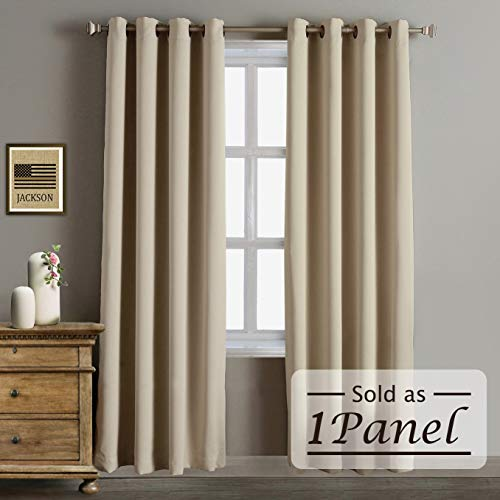 Rose Home Fashion RHF Blackout Thermal Insulated Curtain - Antique Bronze Grommet Top for Bedroom or Living Room,Grommet Curtain, Sold as 1 Panel,52W by 84L Inches-Beige