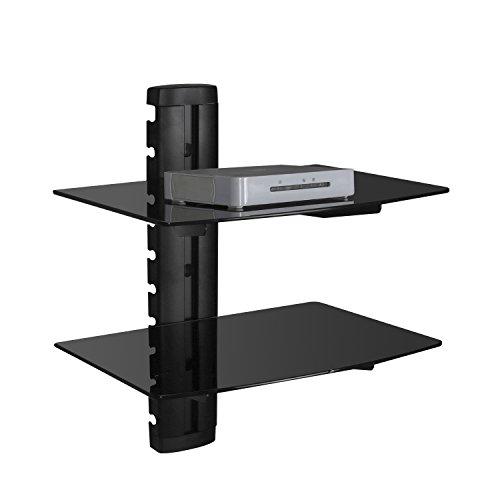SevenFanS 2-Tier DVD Floating Glass wall mount shelf, DVD DVR Component Shelf- Strengthened tempered glass shelf for DVD Player/AV Receiver/TV Accessories, Black color by SevenFanS