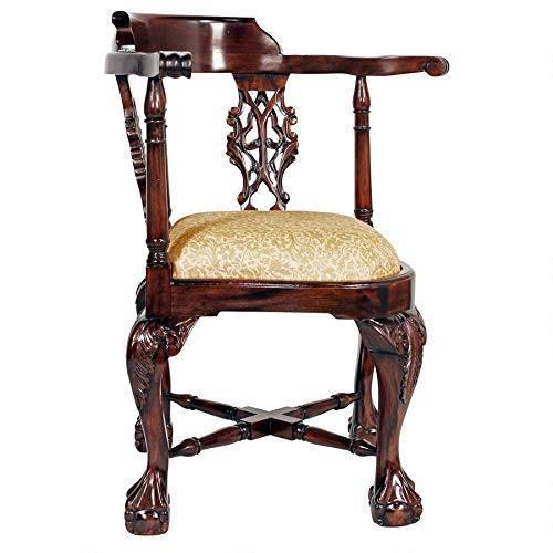 Design Toscano Chippendale Corner Fabric Arm Chair