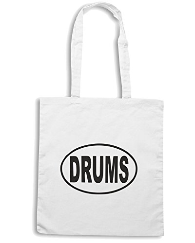 T-Shirtshock - Bolsa para la compra FUN1275 drums oval sticker 36059 Blanco