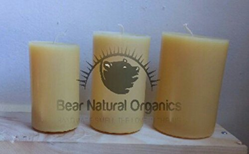 Candle Beeswax Pillar (Handmade 100% Raw Organic Beeswax pillar candles set of 3 sizes (2x3.8, 2.75 x 4.5 and 2.95x 5))