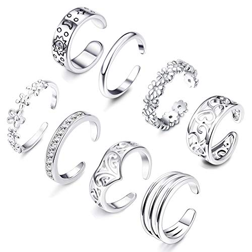 (Besteel 8 Pcs Toe Rings for Women Girls Adjustable Open Toe Ring Gifts Jewelry Set (E: 8 Pcs A Set))