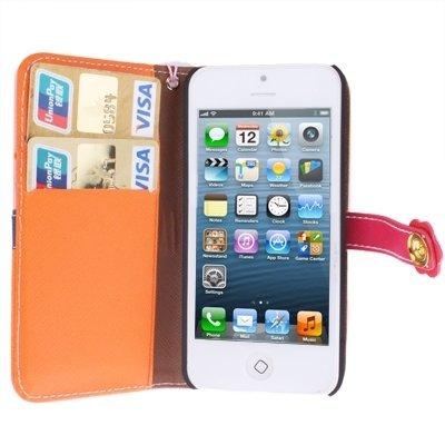 Mxnet Plum Flower Button Flip Leder Brieftasche Case Cover mit Kreditkarte Slot & Lanyard für iPhone 5 & 5s & SE rutschsicher Telefon-Kasten ( SKU : S-IP5G-3141E )