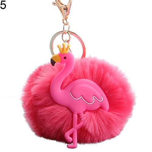 (Shineweb Crown Flamingo Pom Pom Ball Key Chain Key Ring Keyring Keyfob Handbag Pendant Keychain Charm Pink)