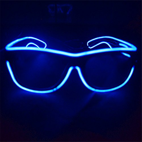 el glasses, el wire with 3v AAA portable controller (Blue)