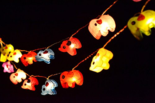 I Love Handicraft LED Battery Operated Paper String Lights For Party and Bedroom Decoration 20 Light/Set Multi-Colours Elephants