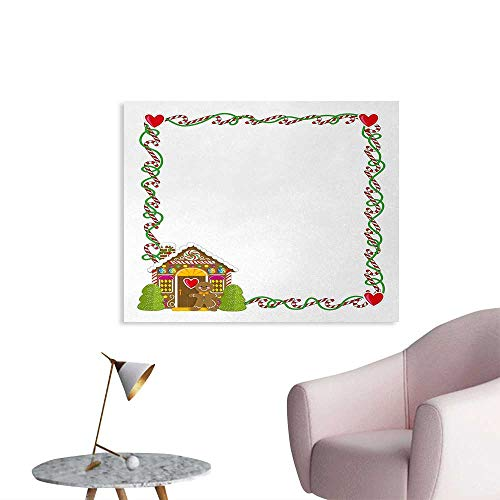 Tudouhoho Kids Christmas Art Poster Frame Featuring Sweet Candy Canes Hearts and a Gingerbread Cookie House Painting Post Multicolor W48 xL32
