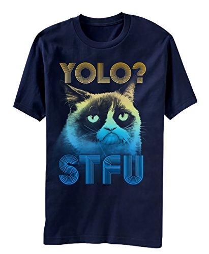 Grumpy Cat YOLO Herren's Navy Blau T-Shirt