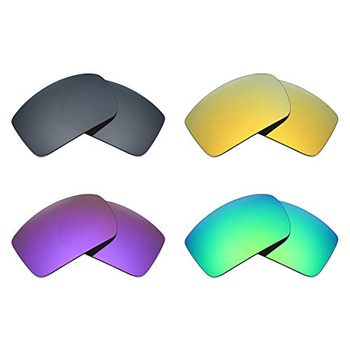 (Mryok 4 Pair Polarized Replacement Lenses for Oakley Oil Drum Sunglass - Black IR/24K Gold/Plasma Purple/Emerald Green)