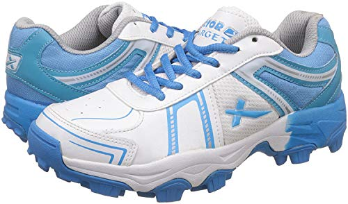 KD Vector Cricket Shoes Rubber Spike Target Hockey Sports Studs Indoor Out Door Trek Shoes (IND/UK 11, White/Blue)