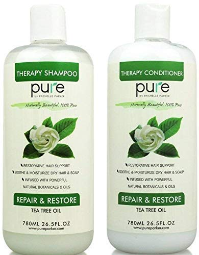 PURE Tea Tree Oil Shampoo & Conditioner Set, 26.5 oz. each - Tea Tree Shampoo + Tea Tree Conditioner for Deep Cleansing Itchy Scalp & Dry Hair (Pure Tea Tree Shampoo Conditioner Set)