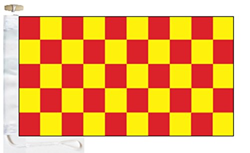 Chequered Red and Yellow Check Boat Flag - 1 Yard  - Rope an