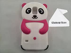 Cute 3D Panda Silicone Rubber Soft Case Cover Protective For Samsung Galaxy S5 SV I9600-Hot Pink/White+ Free Cleaning Cloth As a gift and Free Screen Protector
