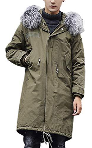 1 Hood Casual Warm Tall Faux and Men TTYLLMAO Jacket Parkas Fur Big Outwears qOZTwp