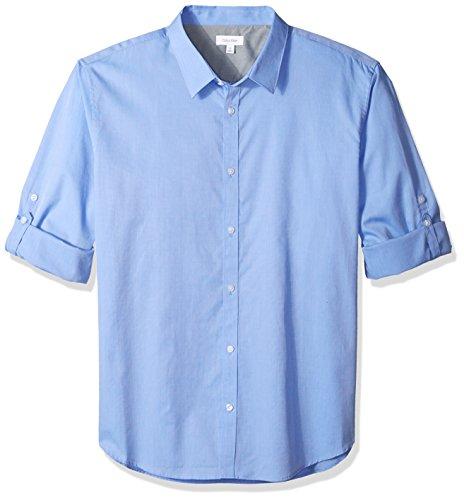 Calvin Klein Men's Long Sleeve Roll Tab Button Down Shirt, Little Boy Blue, - Dressy Men