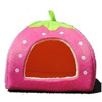 Casa S /M /L /XL de la cama del animal doméstico del gato del perro suave suave del algodón de la fresa (rosa, S)