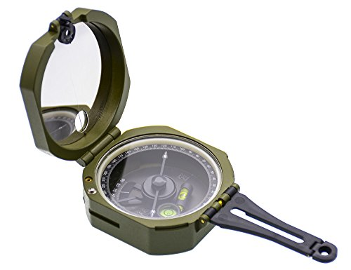 Multifunctional Military Army Metal Magnetic Compass Waterproof Fluorescent with Pouch for Outdoor Activities (Green) ()