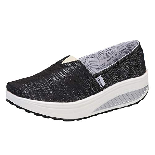 Midress Women's Fashion Canvas Thick Bottom Slip On Sports Running Sneakers Shake Shoes Platform Rocker Shoes Wedges Thick Sole for Walking