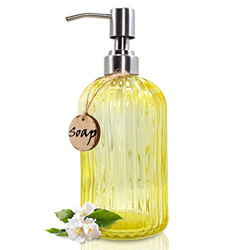 JASAI 18 Oz Glass Soap & Lotion Dispenser with Rust Proof Stainless Steel Pump, Refillable Liquid Pump Bottle Holder Great for Kitchen, Bath, Bathroom Accessories, Countertop (Clear Yellow)
