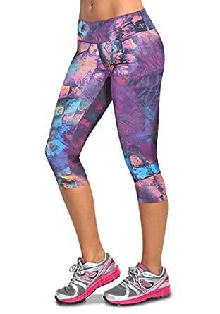 Cute Workout Clothes, Sexy Workout Capris, Yoga Capri Pants Lava Rock (Small)