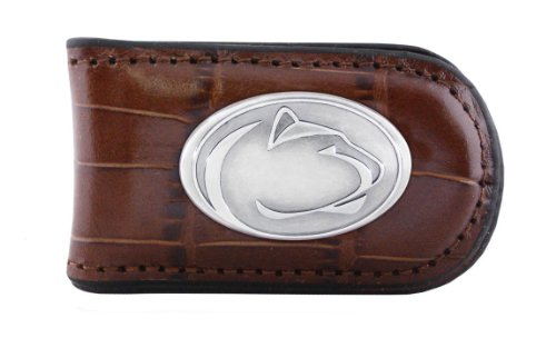 NCAA Penn State Nittany Lions Zep-Pro Crocodile Leather Magnet Concho Money Clip, Tan - Penn State Money Clip