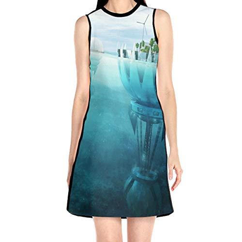 Laur Women¡¯s Sleeveless Scuba Sheath Dress Windmill Under Water Print Casual/Party/Wedding Dress S White