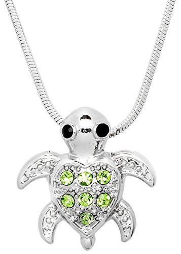 Glamour Girl Gifts Collection Small Heart Shaped Sea Turtle Charm Pendant Silver Tone Necklace Fashion Jewelry Gift (Green)