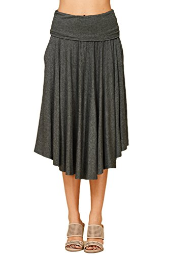 Womens Fold Over Waistband Comfy A Line Flowly Midi Skirts With Side Pockets Large Mid Grey S9010 ()
