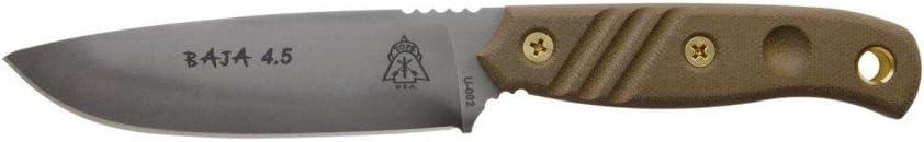 TOPS BAJA 4.5 Fixed Blade Knife Black River Wash Blade Green Micarta Handle BAJA-4.5