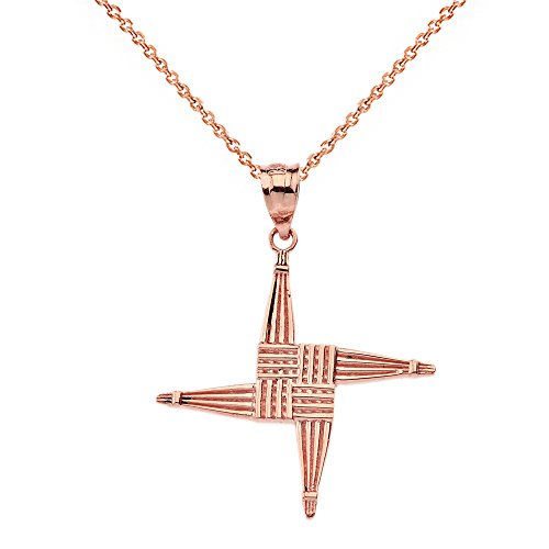 10k-Rose-Gold-Irish-St-Brigids-Christian-Wall-Cross-Pendant-Necklace