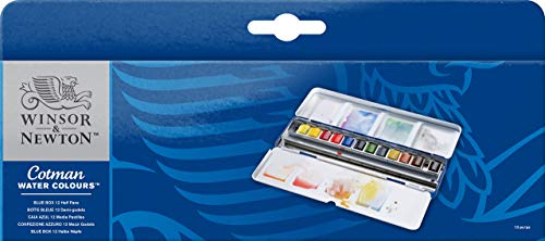 Winsor & Newton Cotman Watercolor Blue Box Set, 12