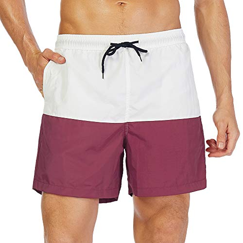 SILKWORLD Men's Swim Trunks Quick Dry Beach Shorts with Pockets (US M (Fits Waist 32.5