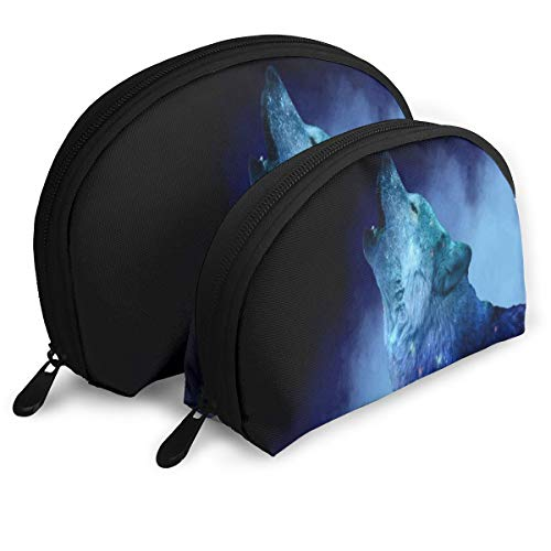 Pouch Zipper Toiletry Organizer Travel Makeup Clutch Bag Howling Galaxy Wolf Portable Bags Clutch Pouch Storage Bags]()