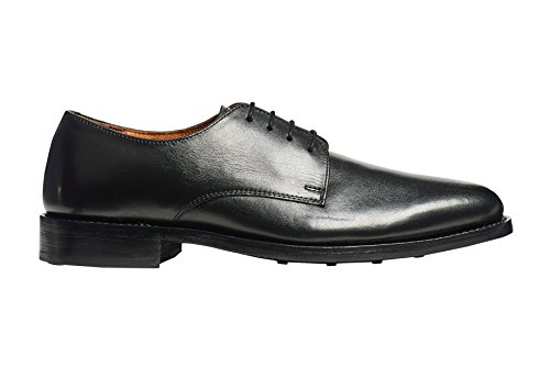 Scarpe In Pelle Pieno Fiore Anthony Veer Mens Derby Oxford In Goodyear Nero
