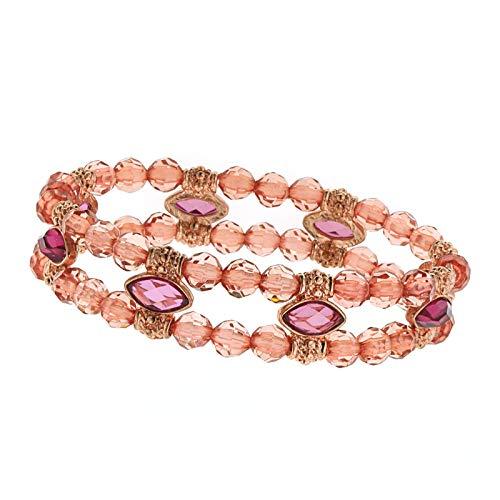 1928 Jewelry Copper-Tone Pink Beaded Stretch Bracelet