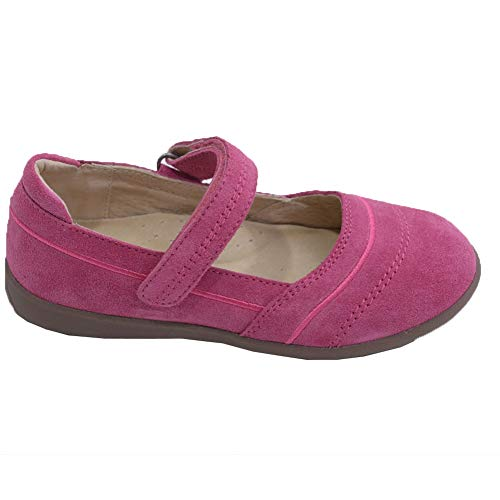 L'Amour Little Girls Fuchsia Sporty Nubuck Leather Mary Jane Shoes 5 Toddler