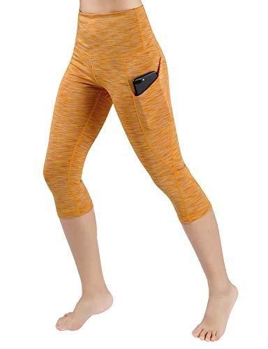 ODODOS High Waist Out Pocket Yoga Capris Pants Tummy Control Workout Running 4 Way Stretch Yoga Capris Leggings,SpaceDyeMustard,X-Large