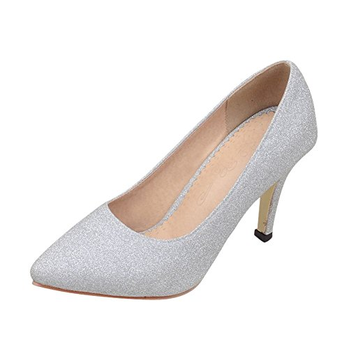 Carolbar Women's Bling Bling Pointed Toe High Heel Stiletto Court Shoes Silver GkhDcud