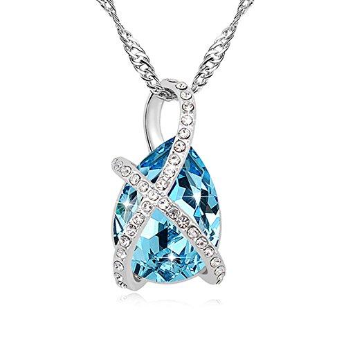 Pealrich Kristall Halskette, Damen Kette mit Swarovski Elements, Tropfen Anhänger, mit Etui Schmuck 18,5'' (Blau)
