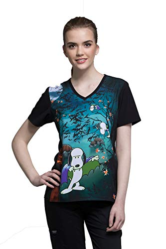Tooniforms by Cherokee Women's V-Neck Count Snoop-ula Print Scrub Top XX-Large