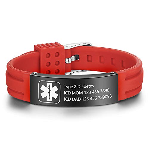 Lam Hub Fong Free Engraving 9 Inches Silicone Adjustable Medical Bracelets Sport Emergency ID Bracelets for Men Women Kids Waterproof Stainless Steel Rubber Alert Bracelets (Red-Black) ()