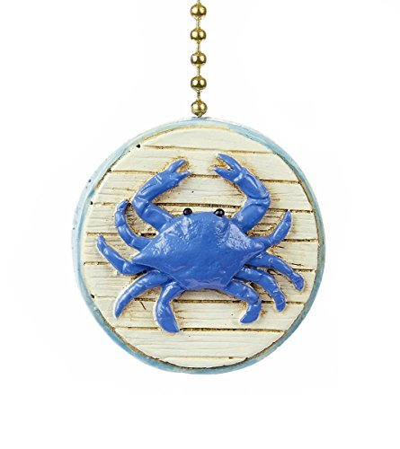 Blue Crab 2D Beach Ceiling Fan Pull - Beach - 2d Blue Plate