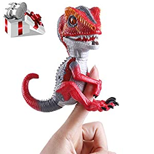 NICPAY Finger Dinosaur,Finger Raptor add tame Mode,Finger Raptor(Velociraptor BURU),Dinosaur Electronic Interactive Dinosaur,Finger Raptor Toy,Dinosaur on The Finger for Children's Gift (Red)
