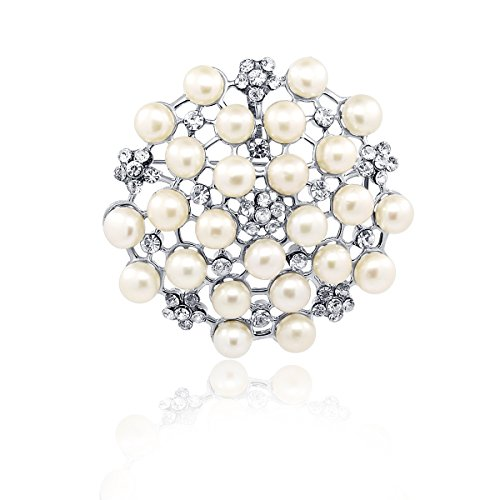 - Wedding Flower- Freshwater Cultured Pearl brooch with Rhinestones