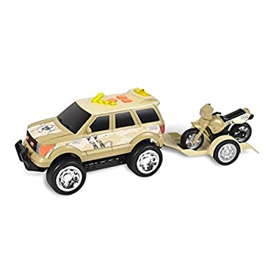 Mini Rescue Trailer – Lights and Sounds Pull Back Toy Vehicle with Friction Motor | Receive Either the Boat or Motorcycle | Color May Vary – Maxx Action: Toys & Games