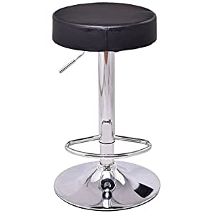 Barstool,GentleShower Adjustable Round High PU Seat Bar Stool Swivel Counter Height Bar stool Kitchen Chair with footrest Black