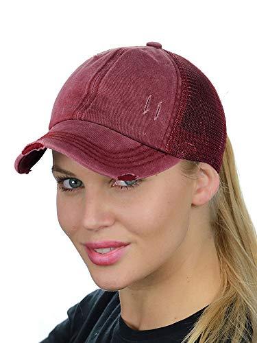 C.C Ponycap Messy High Bun Ponytail Adjustable Mesh Trucker Baseball Cap Hat, Distressed - Mesh Adjustable Hat Trucker