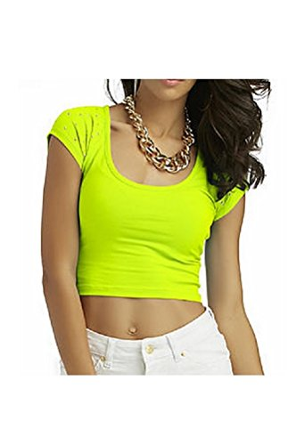 Womens Nicki Minaj Studded Cropped Fitted Cotton T-Shirt (Small, Sulpher Springs)