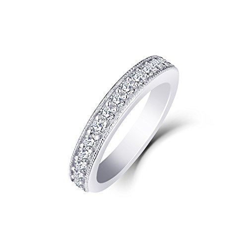 0.53 Carat Prong Set Diamond Wedding Band Ring in 10K White Gold Size7 by JO WISDOM (Image #2)