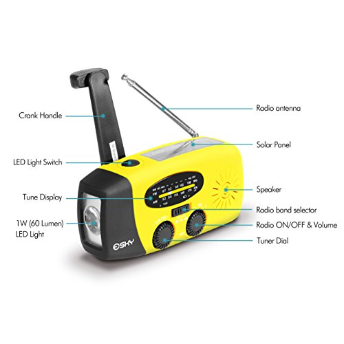 Esky Solar Hand Crank Self Powered Emergency Radio with LED Flashlight and 1000mAh Power Bank Smart Phone Charger with Cables for Travel, Camping or Emergency (Yellow)